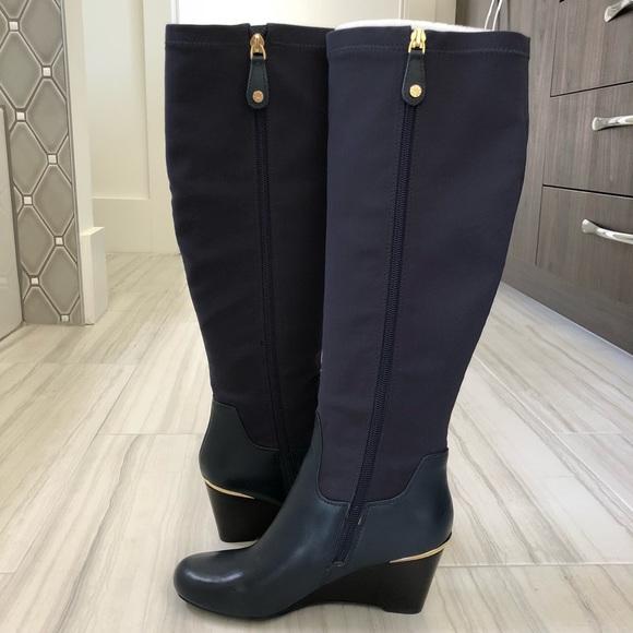 9f2db5a8b32 Isaac Mizrahi Shoes - Isaac Mizrahi Leather   Stretch Fabric Wedge Boots